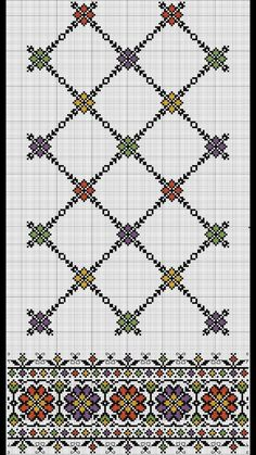 Border and lattice pattern Cross Stitch Borders, Cross Stitch Charts, Cross Stitch Designs, Cross Stitching, Cross Stitch Patterns, Folk Embroidery, Embroidery Patterns Free, Hand Embroidery Designs, Cross Stitch Embroidery