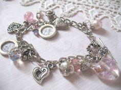 Pink Lady Vintage Glass Heart Charm Bracelet by vintagegirldezigns