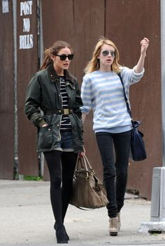 Barbour. belted. striped shirt. on Olivia Palermo.