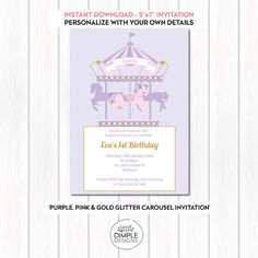 Tiffany invitation template tiffany baby showers invitation carousel invitation in purple pink gold stopboris Choice Image