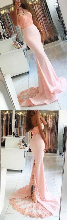 Lace Prom Dresses,Pink Prom Dresses,Long Prom Dresses Trumpet/Mermaid, Halter Prom Dresses Jersey Appliques #lacedress
