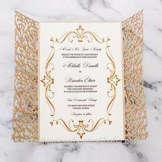Source Damask Gold Glitter Laser Cut Wedding Invitations on m.alibaba.com
