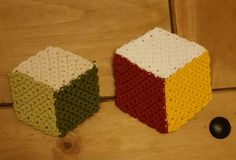 3 D cube coasters I crocheted out of cotton