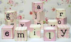 hand painted letter blocks for the nursery