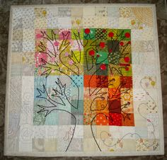 "Lia*s Handmades: ""Four Seasons"" - Project Quilting Challenge 1 - Take time to read her blog post about the details of this quilt.  The embroidery and the thought gone into this quilt is amazing!"