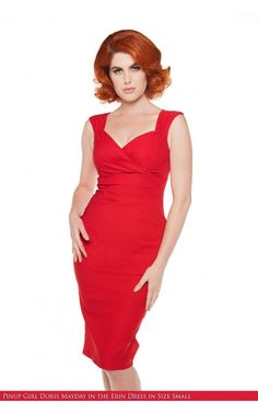 Pinup Couture - Erin Wiggle Dress in Red | Pinup Girl Clothing