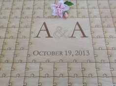 Custom Monogram Wedding Guest Book Puzzle by NorthernOwlCreations, $145.00