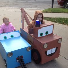 Mater and Sally costumes. love how Sally is a wagon for the little ones :)