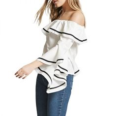 - A flirty blouse is essential for date nights. This off-the-shoulder top with voluminous sleeves will continue to be a hit during warmer weather.Forever 21 Off-The-Shoulder Striped Top, $23