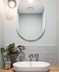 Love this powder room from using our Masia Gris Claro Tile. Bathroom Renos, Bathroom Wall, Grey Tiles, Minimal Decor, Powder Room, Small Spaces, Mirror, Minimalism, House Ideas