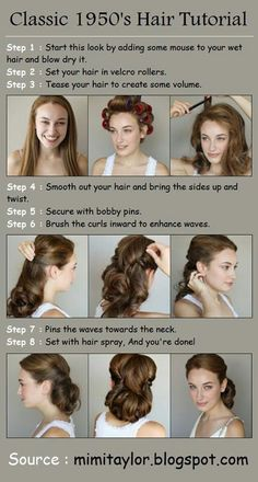 Steps : 1 : Start this look by adding some mouse to your wet hair and blow dry it. 2 : Set your hair in velcro rollers. 3 : Tease your hair to create some volume. 4 : Smooth out your hair and bring th My Hairstyle, Pretty Hairstyles, Easy Hairstyles, 1950s Hairstyles For Long Hair, Wedding Hairstyles, Curling Iron Hairstyles, Makeup Hairstyle, Bridal Hairstyle, Homecoming Hairstyles