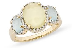lemon quartz ring: blue topaz, diamonds, buttery quartz, 14k yellow gold