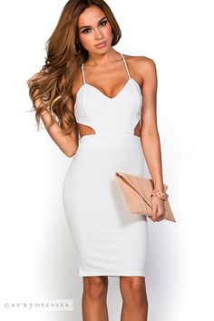 1ce89b6c3547 Bodycon Knee Length Backless All White Party Dress with Side Cut Outs All White  Party Dresses