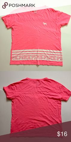 """VS Pink // Oversized Tee Neon Pink EUC! Bright neon pink oversized tee with white rugby stripe and dog logo. Super soft. About 22"""" across chest and 22.5"""" from shoulder to hem. No holes or stains. 🚫trades🚫 smoke free home PINK Victoria's Secret Tops Tees - Short Sleeve"""