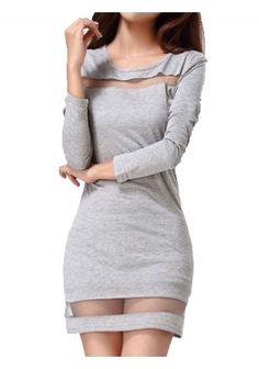 Fashion Gauze Patchwork Long Sleeve Gray Women's Bodycon Dress