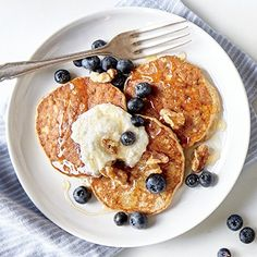 Start your day off right with these easy 3-Ingredient Pancakes from the Cooking Light Diet. These healthy pancakes are fluffy and golden delicious.