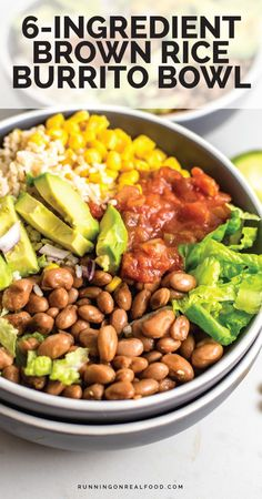 Vegetarian Recipes Discover Brown Rice Burrito Bowl Easy vegan brown rice burrito that comes together in no time at all for a quick and easy healthy vegan meal everyone will love. All you need is lettuce corn salsa pinto beans brown rice and avocado. Easy Healthy Recipes, Veggie Recipes, Whole Food Recipes, Healthy Snacks, Healthy Eating, Cooking Recipes, Quick Vegan Meals, Dinner Healthy, Easy Vegitarian Recipes