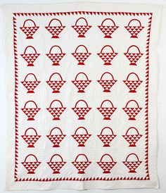 Baskets Quilt with Sawtooth Border: Circa 1880