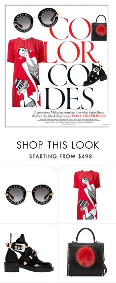 """""""Rouge et noir"""" by giusynole on Polyvore featuring Gucci, Holly Fulton, Balenciaga and Les Petits Joueurs"""