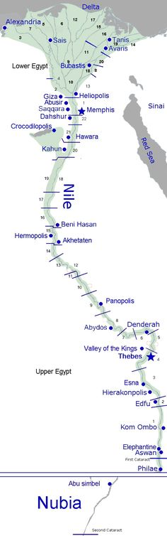 map of Egypt  the Nile flows from south to north, so Upper Egypt is in the south and Lower Egypt is North