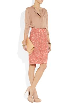 Gucci top, Moschino Cheap And Chic skirt, Yves Saint Laurent clutch, Miu Miu shoes