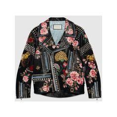 Gucci Hand-Painted Leather Biker Jacket (£7,440) ❤ liked on Polyvore featuring outerwear, jackets, moto jacket, motorcycle jacket, floral jacket, leather motorcycle jacket and black biker jacket