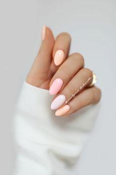 nails ideas for spring \ nails ideas ; nails ideas for winter ; nails ideas for spring ; Light Pink Nail Designs, Light Pink Nails, Peach Nails, Yellow Nails, Beautiful Nail Designs, Pastel Pink Nails, Nail Pink, Light Colored Nails, Pink Yellow