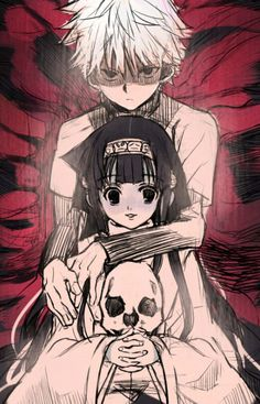 Killua and Alluka - Killua protects Alluka with his life, and Alluka holds a skull, representing, I guess, all the people she innocently killed.