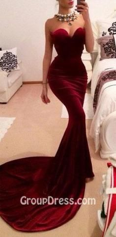 Burgundy Strapless Sweetheart Mermaid Sexy Long Prom Dress