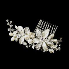 Feminine Pearl and Rhinestone Flower Wedding Hair Comb --Affordable Elegance Bridal -