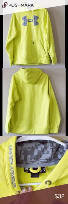 Under Armour hoodie -Bright yellow under armour hoodie -owned by my ex -Good condition, minor spots but nothing obviously noticeable -100% polyester Under Armour Tops Sweatshirts & Hoodies