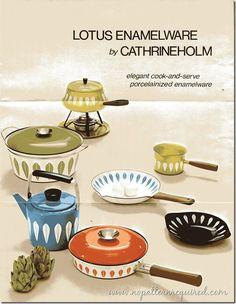 Lotus Enamelware by Cathrineholm – 1969 Mid Century Decor, Mid Century House, Mid Century Design, Vintage Enamelware, Vintage Kitchenware, Vintage Advertisements, Vintage Ads, Vintage Items, Retro Kitchen Accessories