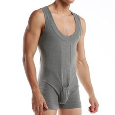 Sexy Pure Cotton One Piece Siamese Vest Home Body Breathable Pouch Pajamas for Men