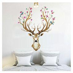 Clearance! Wall Stickers,Canserin 3D Flower Elk Pattern W...