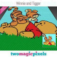Winnie and Tigger crochet graph Mini by TwoMagicPixels on Zibbet Bobble Stitch Crochet, C2c Crochet Blanket, Crochet Blanket Patterns, Cross Stitch Patterns, Crochet Afghans, Crochet Blankets, Crochet Gratis, Crochet Baby, Winnie The Pooh Blanket