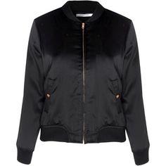 Glamorous Petite Black Satin Bomber Jacket
