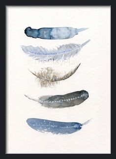 Feather art work 5 Feathers art print from от TheClayPlay на Etsy