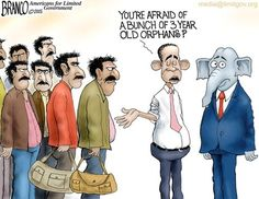 Syrian Orphans : Obama to bring in thousands of Syrian refugees in spite of ISIS warning of using the crisis to infiltrate the west. Political Cartoon by A.F.Branco ©2015.