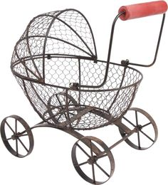 Vintage Metal Doll Stroller-rubber Wheels-chrome Finish Clear And Distinctive 3373 Used.