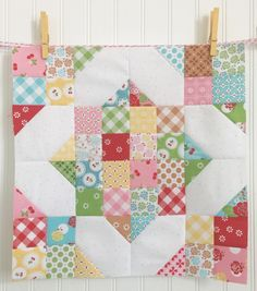 Lori Holt of Bee In My Bonnet created this scrappy block from Sew Cherry 2 for Riley Blake Designs.