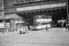 The next tram leaving central is. what's the guy doing at the back of the car, is it parked or just passing? Great Pictures, Old Pictures, Old Photos, Vintage Pictures, Glasgow Scotland, Scotland Travel, Glasgow Central Station, Scottish People, Glasgow City