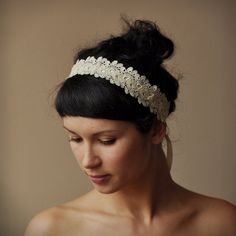 Crochet Wedding Hairstyles : BRIDAL HAIR BAND wedding hair accessory crochet lace lacy oryginal and ...