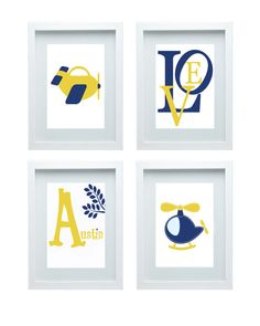 Airplane Nursery Decor  Wall Art Aviation Print Helicopter Yellow Navy Blue Art Love Quote Set of 4-11x14 Prints  Boy's Room Baby's room