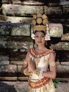 Portrait of a Traditional Cambodian Apsara Dancer, Cambodia