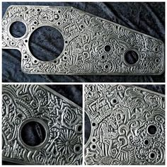 Hand engraved primary cover for a diesel motor that goes on Custom Motorcycle being built by After Hours Bikes