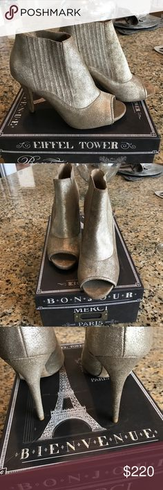 Authentic Jimmy Choo peep toe leather gold-great! About 3.5 heel peep toe booties. Gorgeous gold leather metallic and pull on style . In fabulous condition- no spots or stains . No trades . Jimmy Choo Shoes