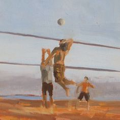 Beach volleyball beautiful painting