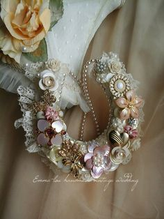 Dusky Pink Brides Wedding Horseshoe, Handmade using Vintage Brooches & Buttons. Good Luck Wishes Unique Keepsake