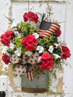 Patriotic Wreath, 4th of July Wreath, Americana Decor, Patriotic Wall Basket, 4th of July Door Decor