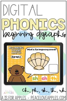Students will use the moveable letters and pictures to show knowledge of beginning digraphs: ch, ph, sh, th, wh. This resource is great for classroom use to teach students or to send to your students for distance learning.
